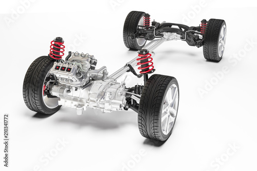 Fotografie, Tablou 3d car chassis with motor and suspension