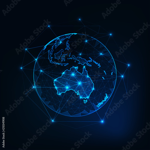 Fotografie, Tablou  Australia map continent outline on planet Earth view from space abstract background