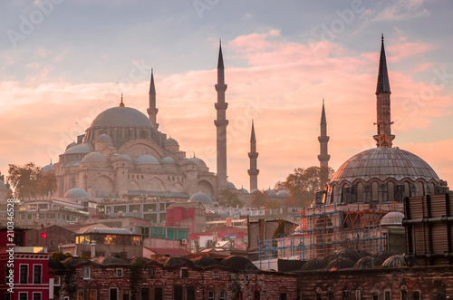 Foto op Canvas Turkije Suleymaniye mosque in Istanbul, Turkey