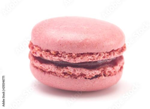 Obraz na plátně Single Pink French Macarons on a White Background