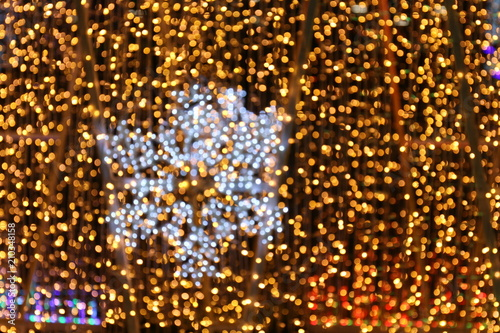 bokeh background and snow shape gold yellow colorful merry christmas happy new year bokeh lighting