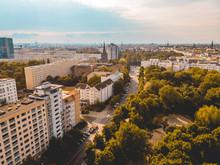 Volkspark Friedrichshain At Berlin And Some Plattenbau Buildings