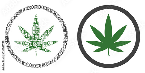 Cannabis collage icon of one and zero digits in various sizes Wallpaper Mural