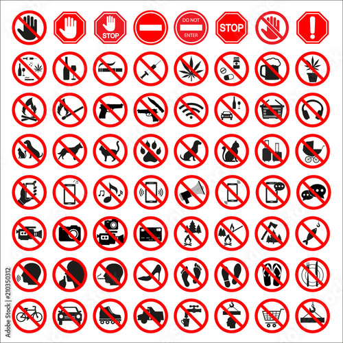 Fotomural  set of prohibition signs on white background