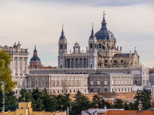 Poster Madrid Distant view over Royal Palace in Madrid - the famous Palacio Real