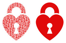 Heart Lock Composition Icon Of...