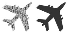 Jet Plane Collage Icon Of Zero And Null Digits In Various Sizes. Vector Digital Symbols Are Organized Into Jet Plane Composition Design Concept.