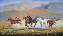 A Large Eagle Over The Running Herd Of Horses. Painting: Canvas, Oil. Author: Nikolay Sivenkov.