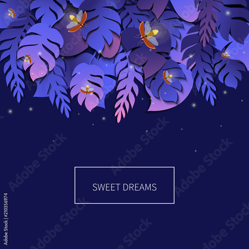 Sweet Dreams Tropical Palm Leaves Template With Twinkling