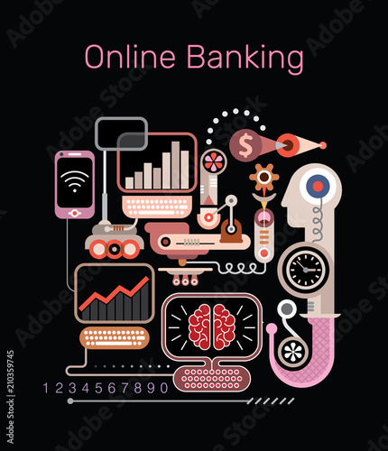 Tuinposter Abstractie Art Online Banking vector illustration