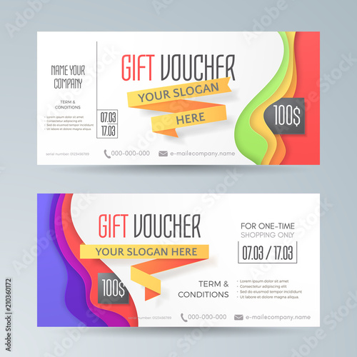 set of modern gift vouchers with 3d ribbons and abstract waves in