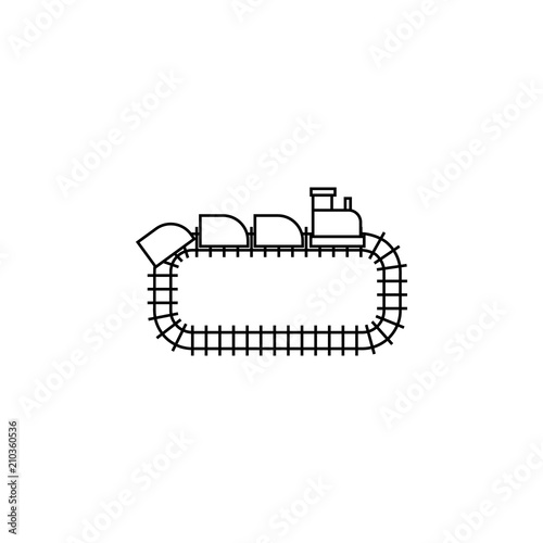 park train locomotive icon vector linear design isolated on white