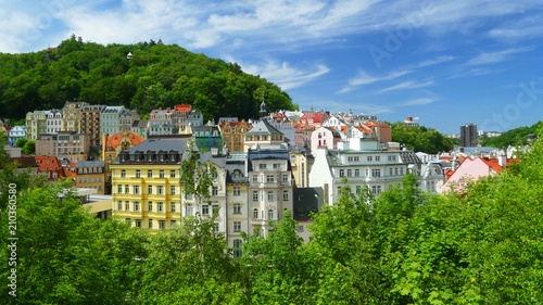 Photo  Old colourful villas, spa town Karlovy Vary, Czech Republic