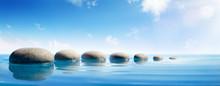 Step Stones In Blue Water - Zen Concept
