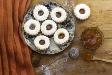 Traditional Algerian  Linzer Cookies With Apricot Jam On Plate For Holiday