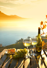 Wine Against Vineyards In Lava...