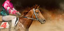 Jokey On A Thoroughbred Horse ...