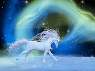 Mystic Unicorn - A white magical unicorn stallion gallops across a universe of an aurora nebula with an array of stars.