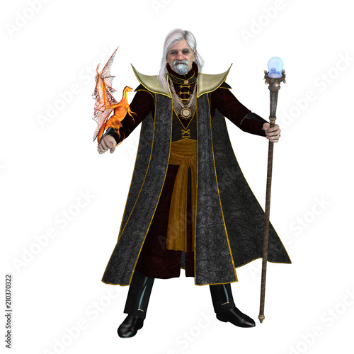 Fotografie, Obraz  Magic Wizard on White -  A magical wizard holds his golden winged pet dragon and his sorcerer staff to execute spells