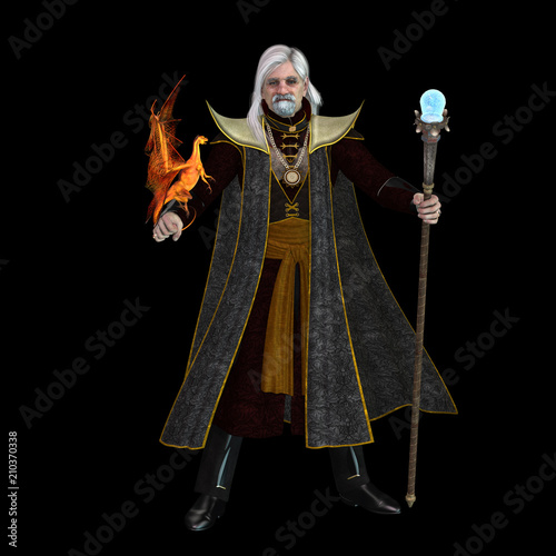 Plakát  Magic Wizard on Black - A magical wizard holds his golden winged pet dragon and his sorcerer staff to execute spells