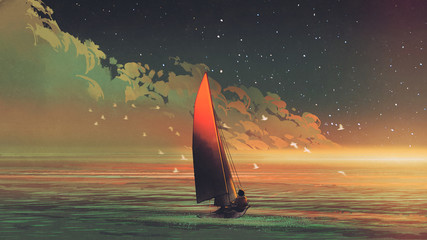 Fototapeta sailboat in the sea with the evening sunlight, digital art style, illustration painting