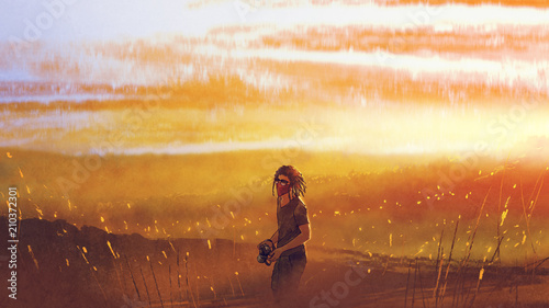 Poster Miel young traveler with a camera standing against sunset over mountains, digital art style, illustration painting