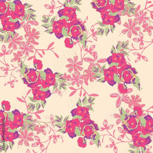 In de dag Bloemen floral pattern