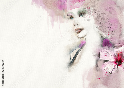 Dekoracyjne style  roseate-watercolor-abstract-portrait-of-woman-fashion-background