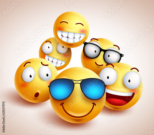Fotografía Smiley face emoticons vector characters with funny group of cool friends of yellow smileys in different facial expressions