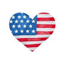 Heart Shaped Flag Of Unites St...