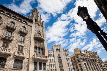 Fototapeta na wymiar Buildings facades at the Gothic Square in Barcelona, Spain