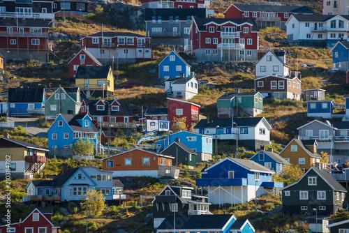 Cuadros en Lienzo Colorful houses on a hillside, Qaqortoc, Greenland
