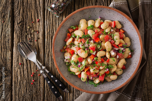 White bean cannellini salad. Vegan salad. Diet menu.