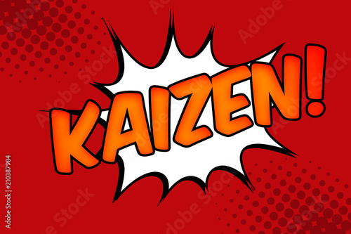 Business philosophy and corporate strategy concept with halftone pop art illustration of  the word kaizen against a comic book burst. Kaizen is the Japanese strategy of continual improvement