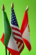 North American Free Trade Agreement or Nafta and 2026 football world cup organizing countries concept with close up on the flags of Mexico, USA and Canada