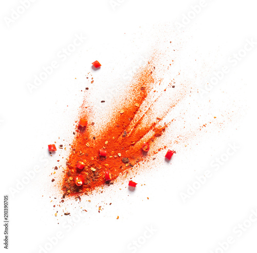 Poster Aromatische Red chili pepper, powder and flakes burst