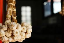 Fresh Raw Garlic Bundle, Copy Space, Kitchen Raw Ingredient Concept