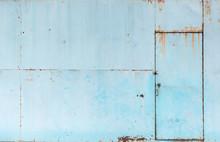 Vintage Blue Rusty Metal Sheet Door Texture Background
