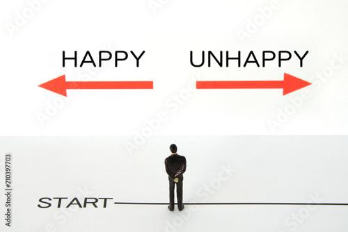 ビジネスコンセプト―幸せか不幸か Wallpaper Mural