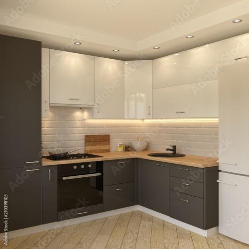 Fototapeta White-grey kitchen contemporary style, 3d images obraz