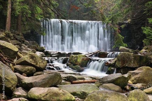 Fototapeta Wild waterfall at Karkonosze mountains near Karpacz. Poland obraz