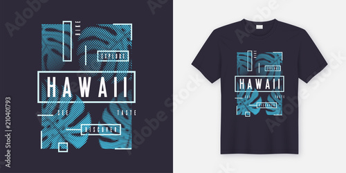 Fotomural Hawaii stylish t-shirt and apparel modern design with tropical l