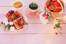 Breakfast With Strawberries On Pink Wooden Table