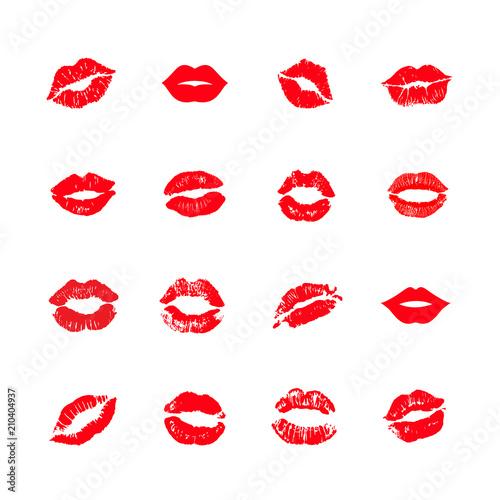 Fotografía Print of lips kiss vector background