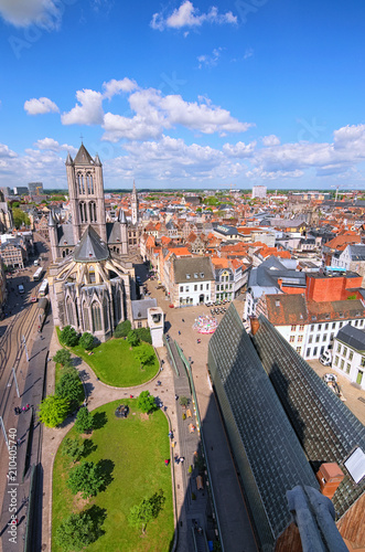 Poster Brugge Aerial view of Ghent from Belfry. Saint Nicholas' Church and beautiful medieval buildings. Spring landscape photo. Selective focus with wide angle lens