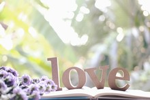 """Wooden Letters Word """"LOVE"""" Decorate On Purple Marguerite Daisy Flowers.Love Text On Book In Nature Garden.Use For Valentine Day And Vintage Concept Background.Wooden Alphabets & Words."""