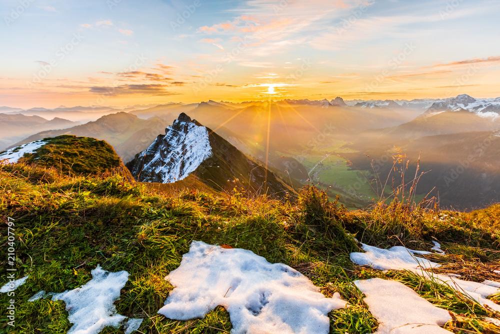 Fototapety, obrazy: Sonnenaufgang auf der Kanisfluh