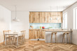 White and wooden Scandinavian style kitchen