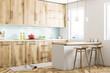 White and wooden Scandinavian kitchen corner
