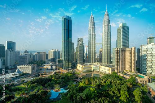 Photo sur Toile Kuala Lumpur Cityscape of Kuala Lumpur Panorama at sunrise. Panoramic image of skyscraper at Kuala Lumpur, Malaysia skyline with blue sky.